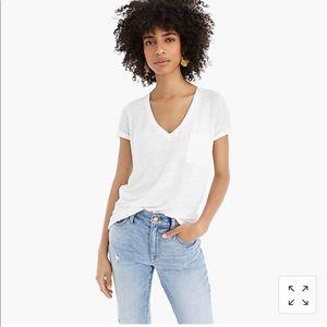 J Crew Grey 100% Linen V-neck pocket T-shirt